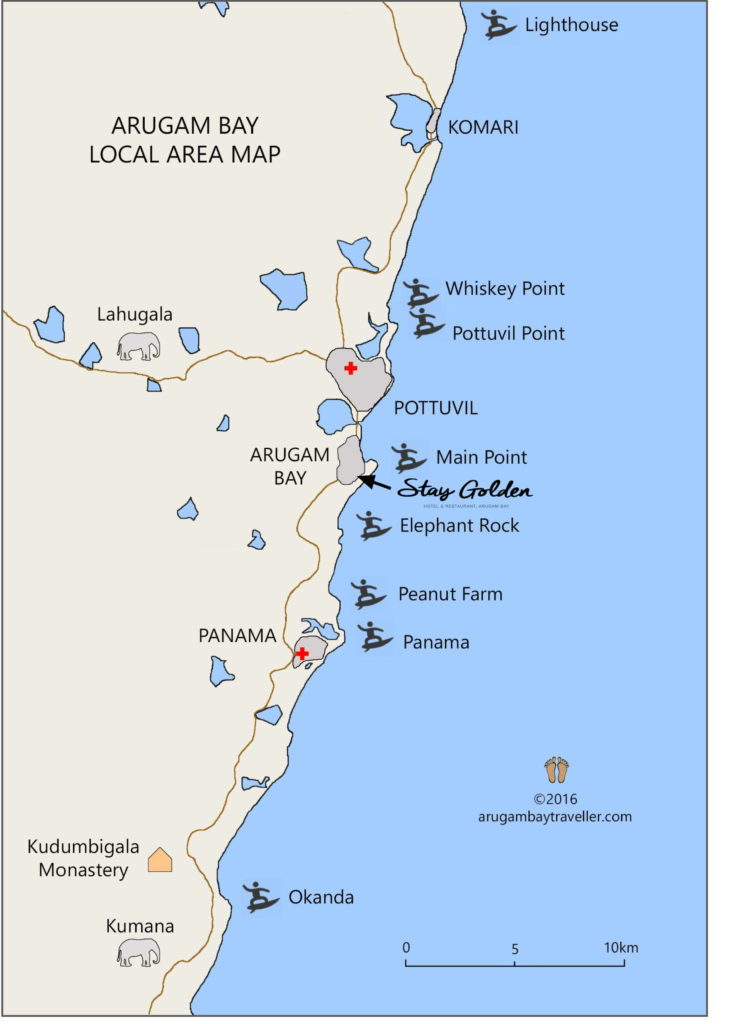 Stay Golden Surf Spot Map Arugam Bay