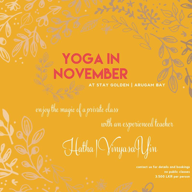 Yoga Arugam Bay Stay Golden November